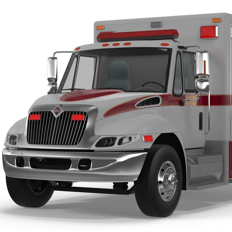 International Durastar Ambulance Rigged 3D Model royalty-free 3d model - Preview no. 29