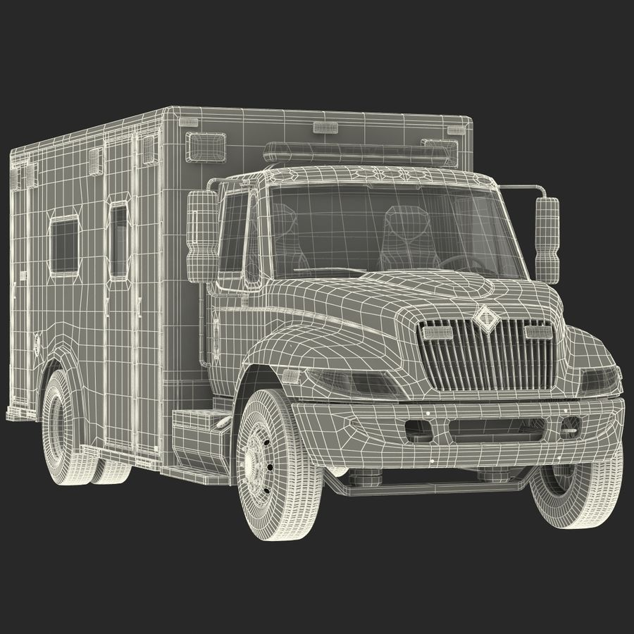 International Durastar Ambulance Rigged 3D Model royalty-free 3d model - Preview no. 58