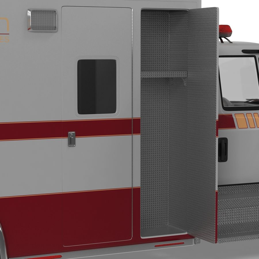 International Durastar Ambulance Rigged 3D Model royalty-free 3d model - Preview no. 44