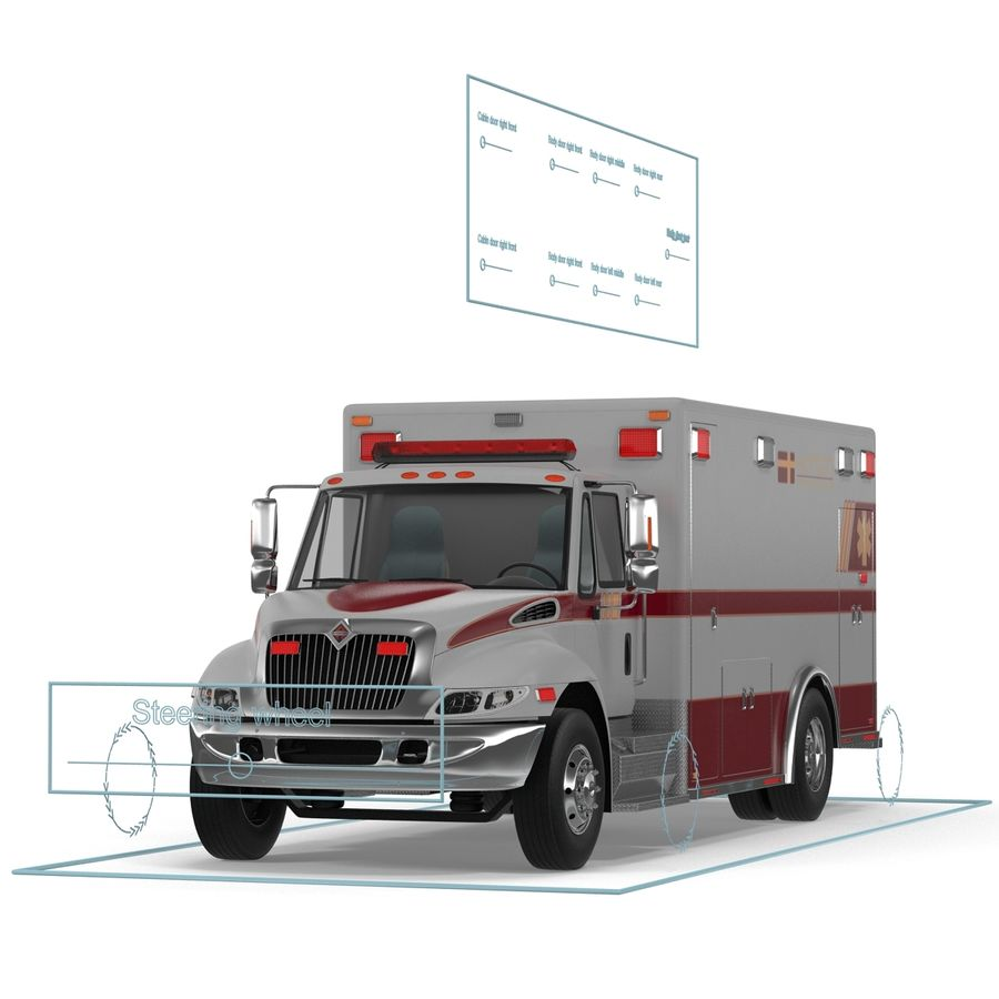 International Durastar Ambulance Rigged 3D Model royalty-free 3d model - Preview no. 49