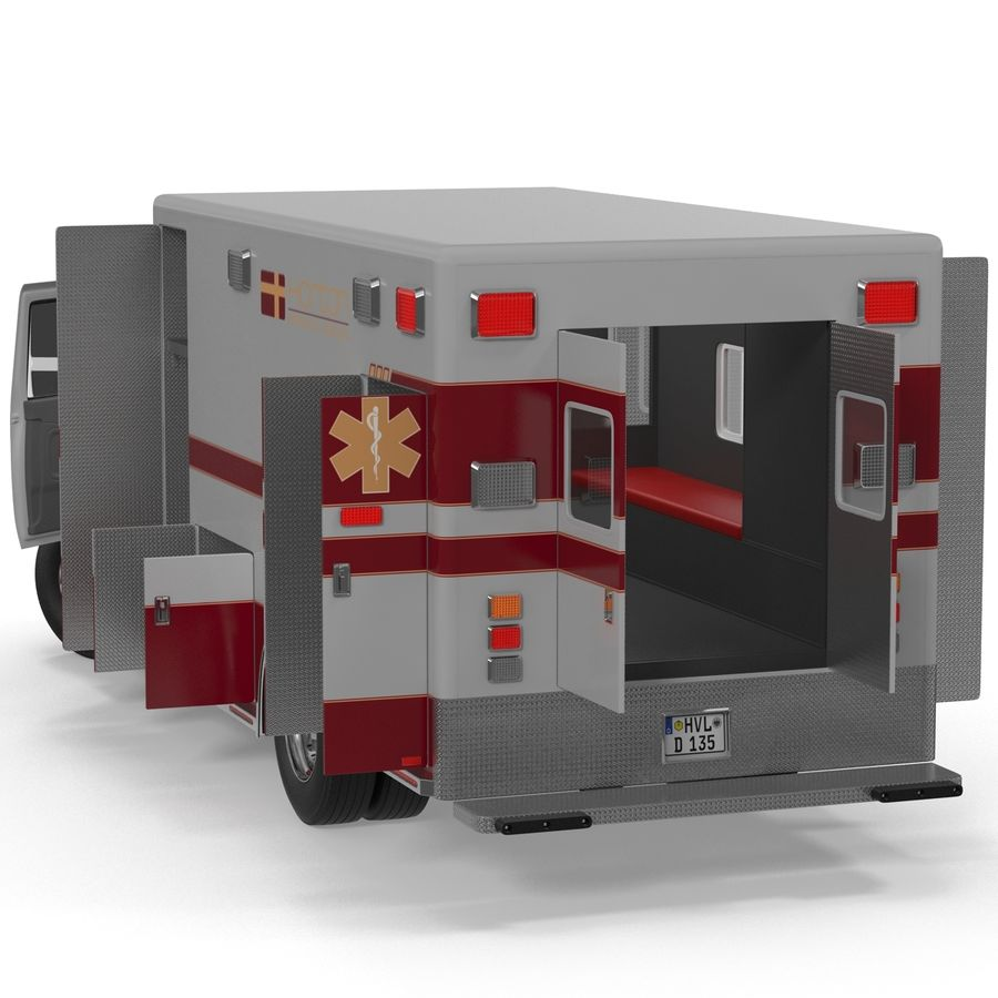 International Durastar Ambulance Rigged 3D Model royalty-free 3d model - Preview no. 14