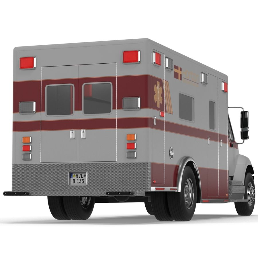 International Durastar Ambulance Rigged 3D Model royalty-free 3d model - Preview no. 15