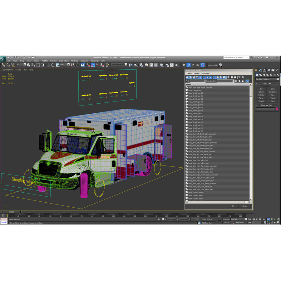 International Durastar Ambulance Rigged 3D Model royalty-free 3d model - Preview no. 57