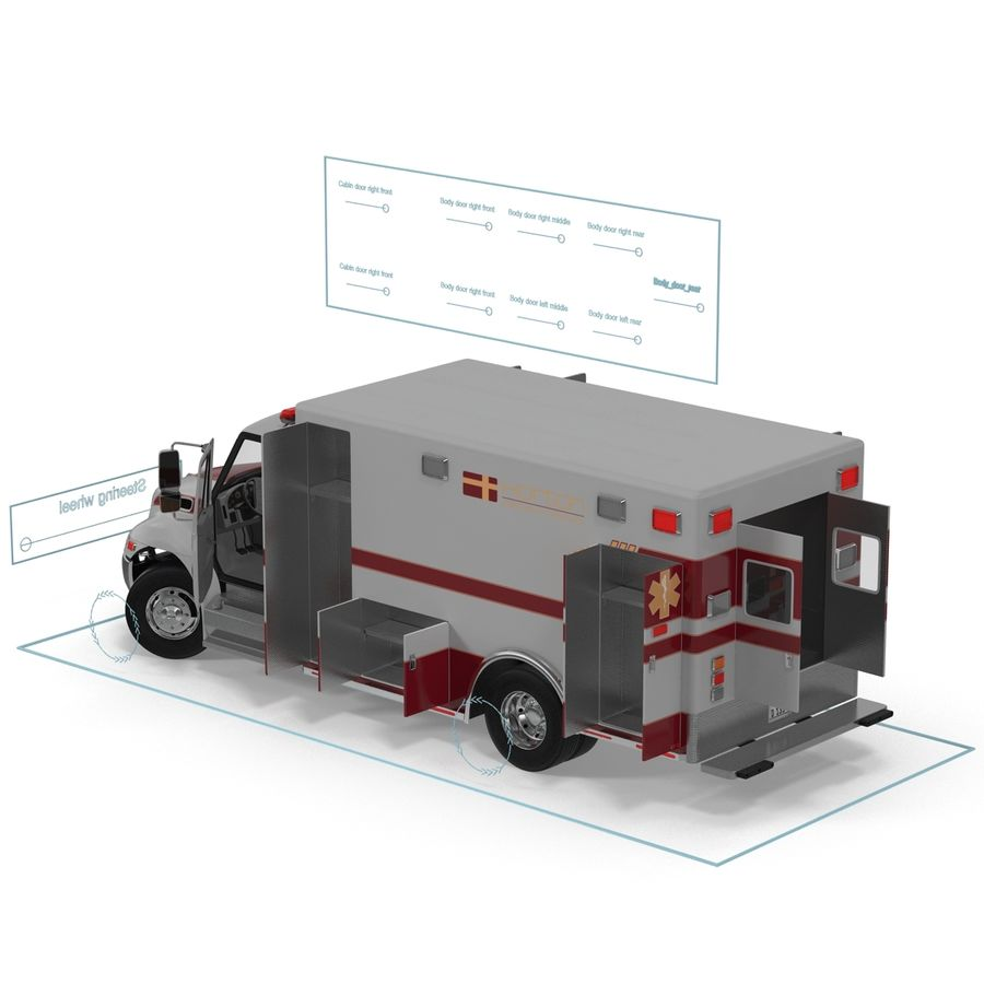 International Durastar Ambulance Rigged 3D Model royalty-free 3d model - Preview no. 52