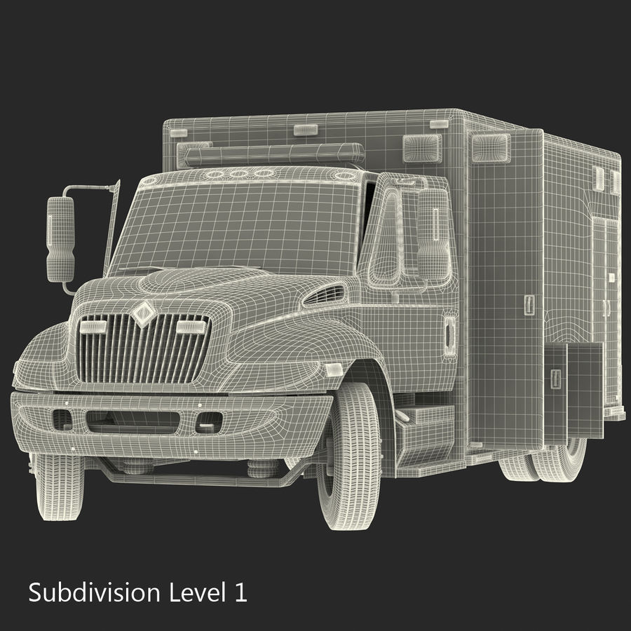 International Durastar Ambulance Rigged 3D Model royalty-free 3d model - Preview no. 54