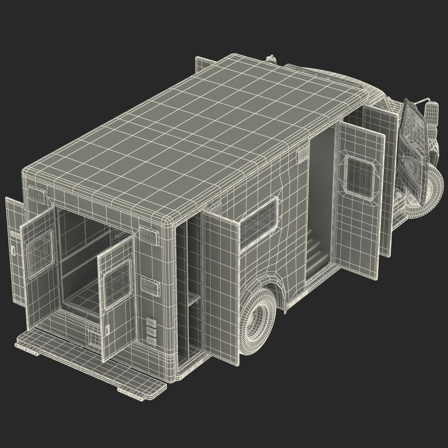 International Durastar Ambulance Rigged 3D Model royalty-free 3d model - Preview no. 62