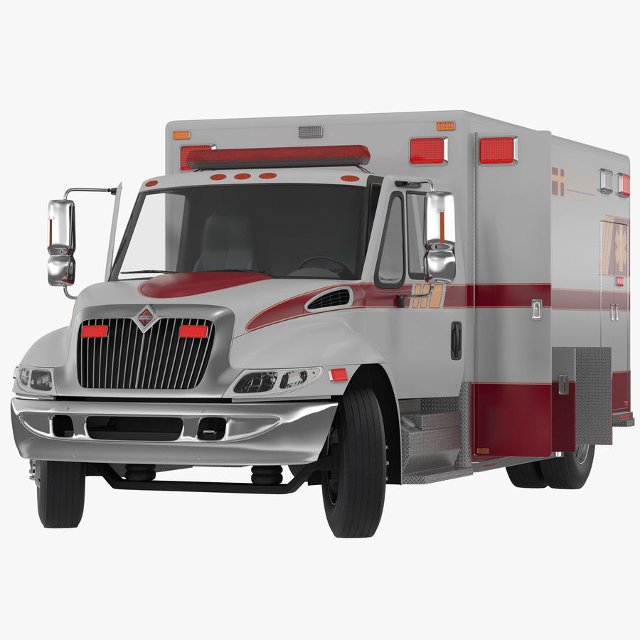 International Durastar Ambulance Rigged 3D Model royalty-free 3d model - Preview no. 1