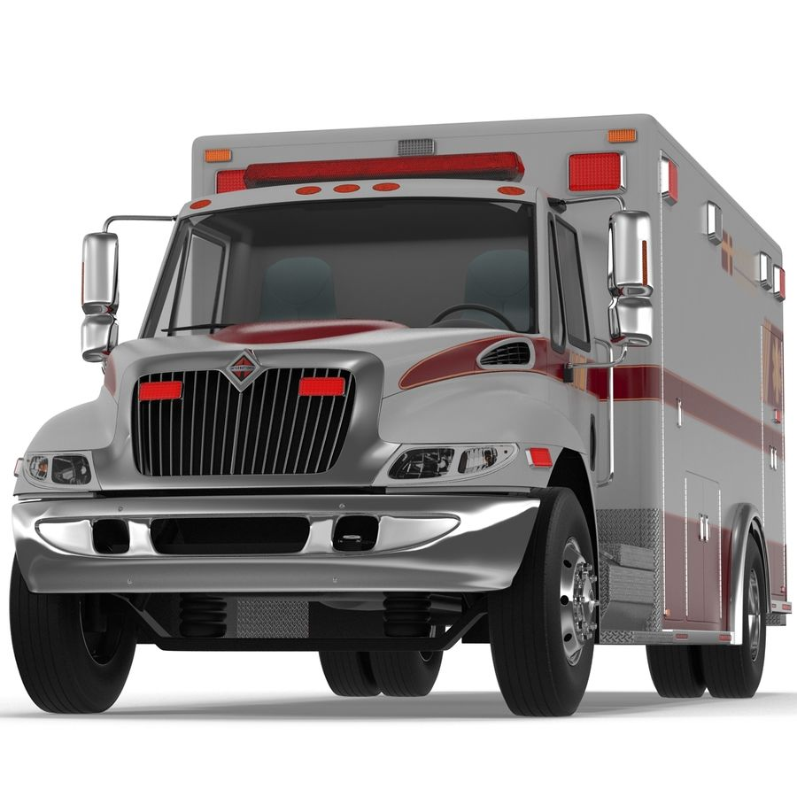 International Durastar Ambulance Rigged 3D Model royalty-free 3d model - Preview no. 12