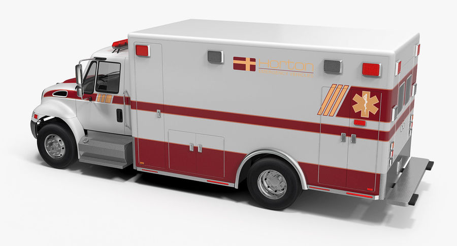 International Durastar Ambulance Rigged 3D Model royalty-free 3d model - Preview no. 4