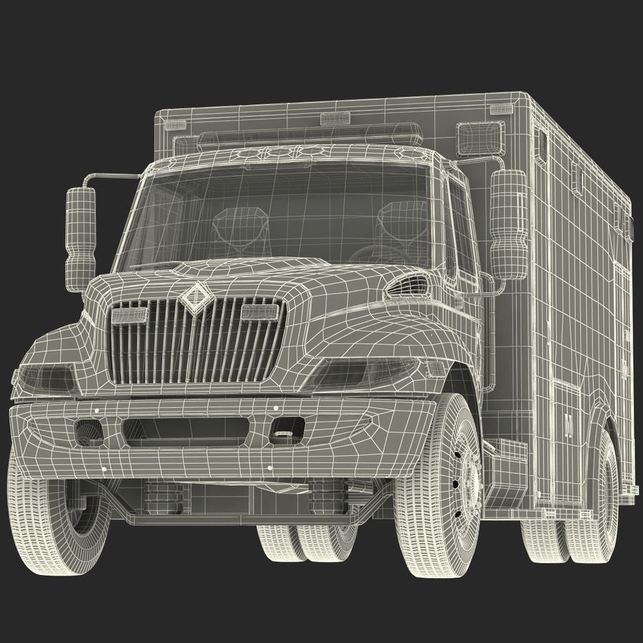 International Durastar Ambulance Rigged 3D Model royalty-free 3d model - Preview no. 59