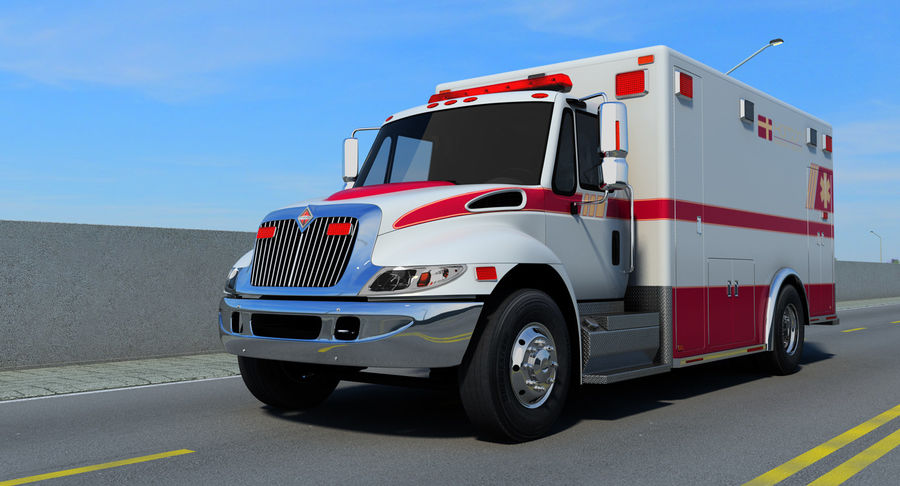 International Durastar Ambulance Rigged 3D Model royalty-free 3d model - Preview no. 7