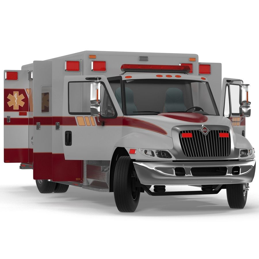 International Durastar Ambulance Rigged 3D Model royalty-free 3d model - Preview no. 9