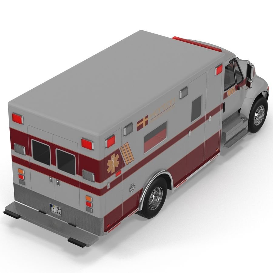 International Durastar Ambulance Rigged 3D Model royalty-free 3d model - Preview no. 17