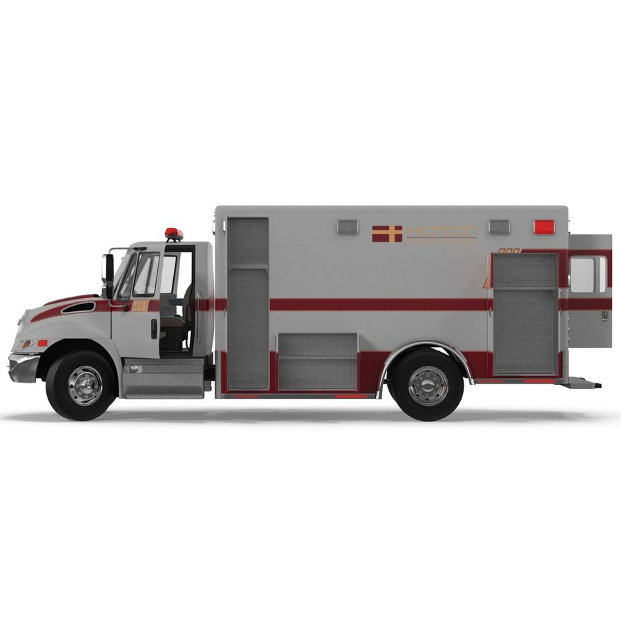 International Durastar Ambulance Rigged 3D Model royalty-free 3d model - Preview no. 22