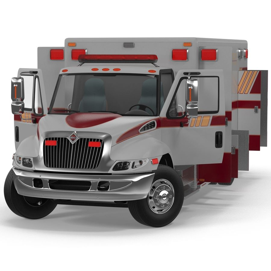 International Durastar Ambulance Rigged 3D Model royalty-free 3d model - Preview no. 11