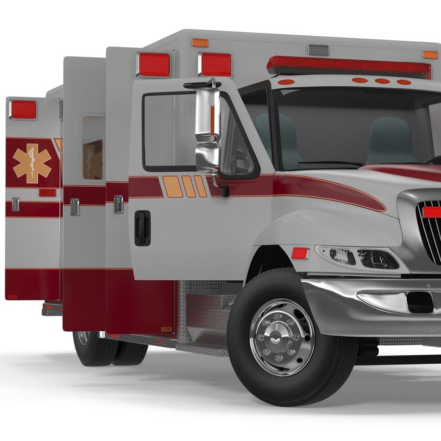 International Durastar Ambulance Rigged 3D Model royalty-free 3d model - Preview no. 28