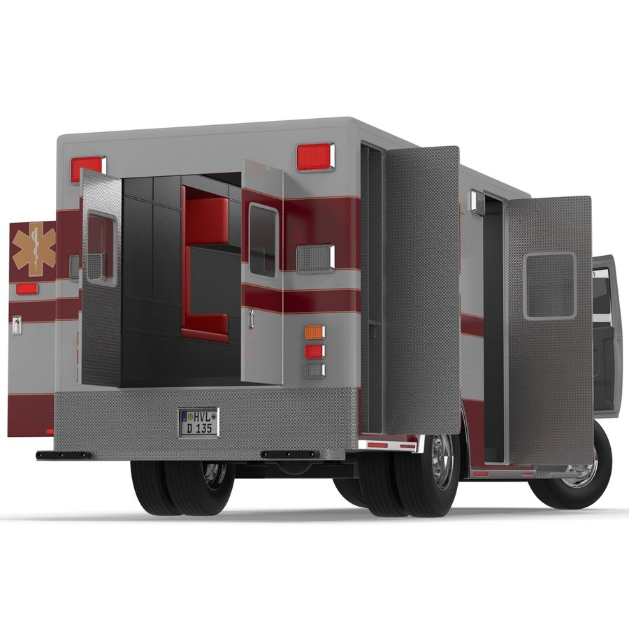 International Durastar Ambulance Rigged 3D Model royalty-free 3d model - Preview no. 16