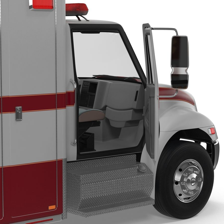 International Durastar Ambulance Rigged 3D Model royalty-free 3d model - Preview no. 34