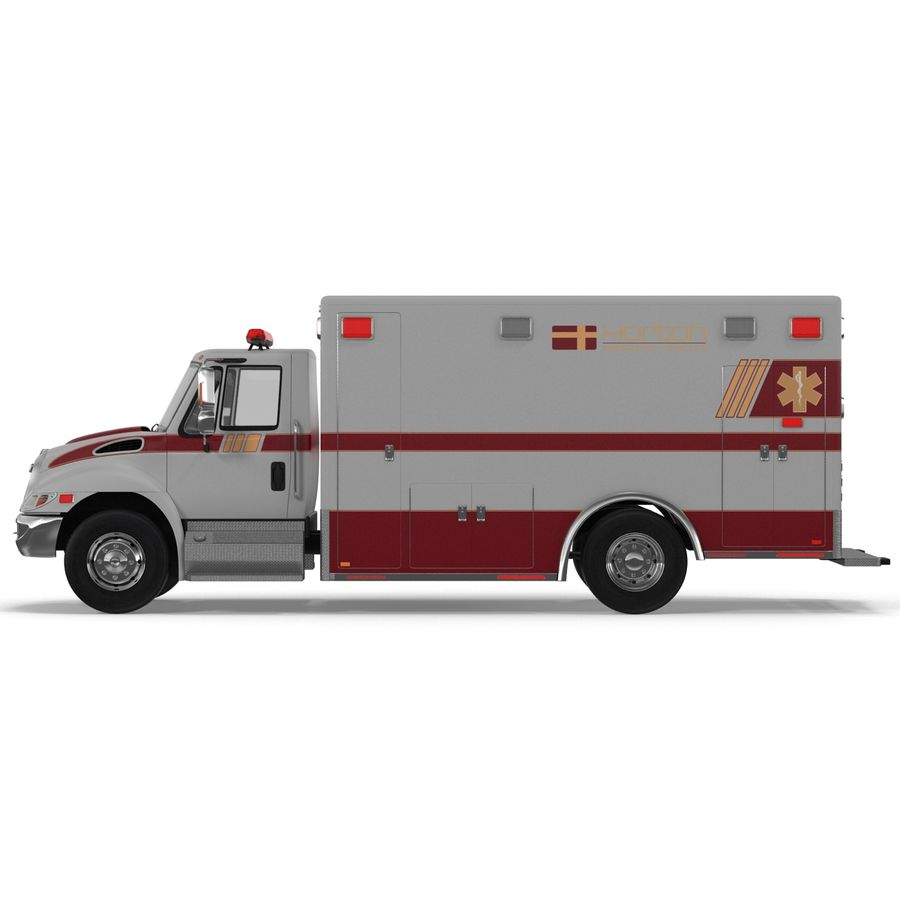 International Durastar Ambulance Rigged 3D Model royalty-free 3d model - Preview no. 21
