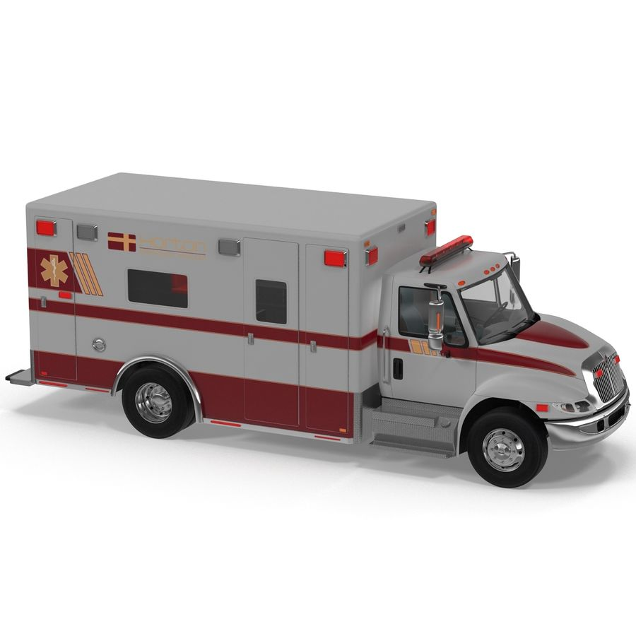 International Durastar Ambulance Rigged 3D Model royalty-free 3d model - Preview no. 19