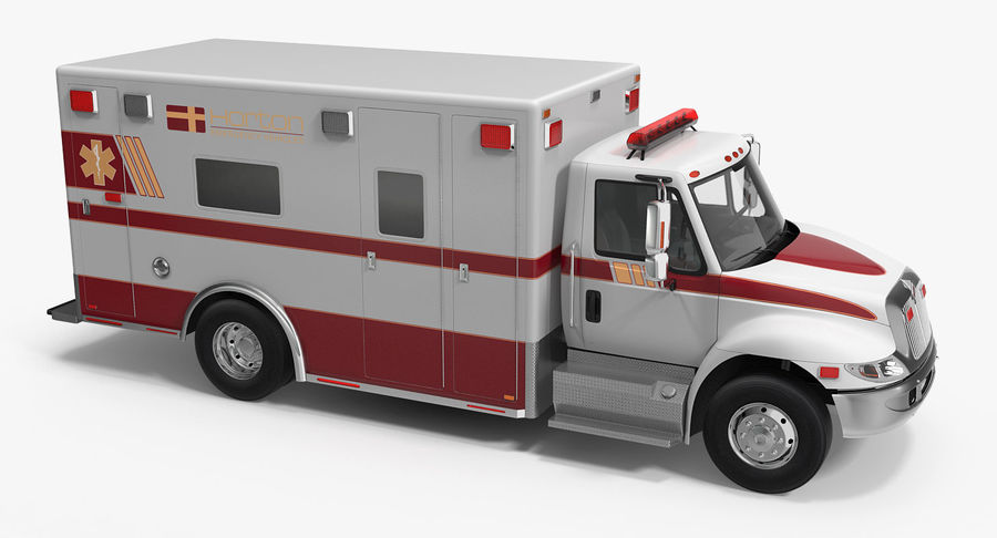 International Durastar Ambulance Rigged 3D Model royalty-free 3d model - Preview no. 5