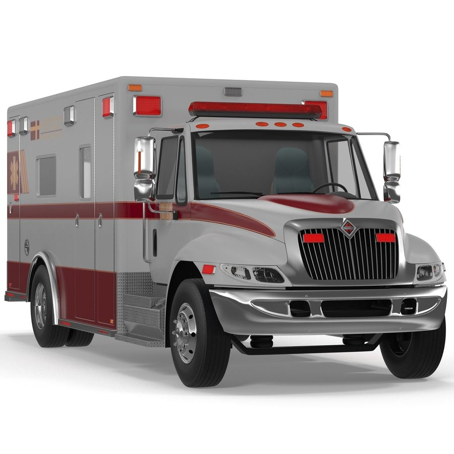 International Durastar Ambulance Rigged 3D Model royalty-free 3d model - Preview no. 8