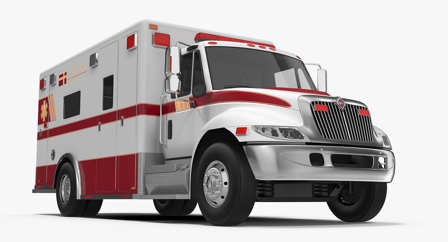 International Durastar Ambulance Rigged 3D Model royalty-free 3d model - Preview no. 3