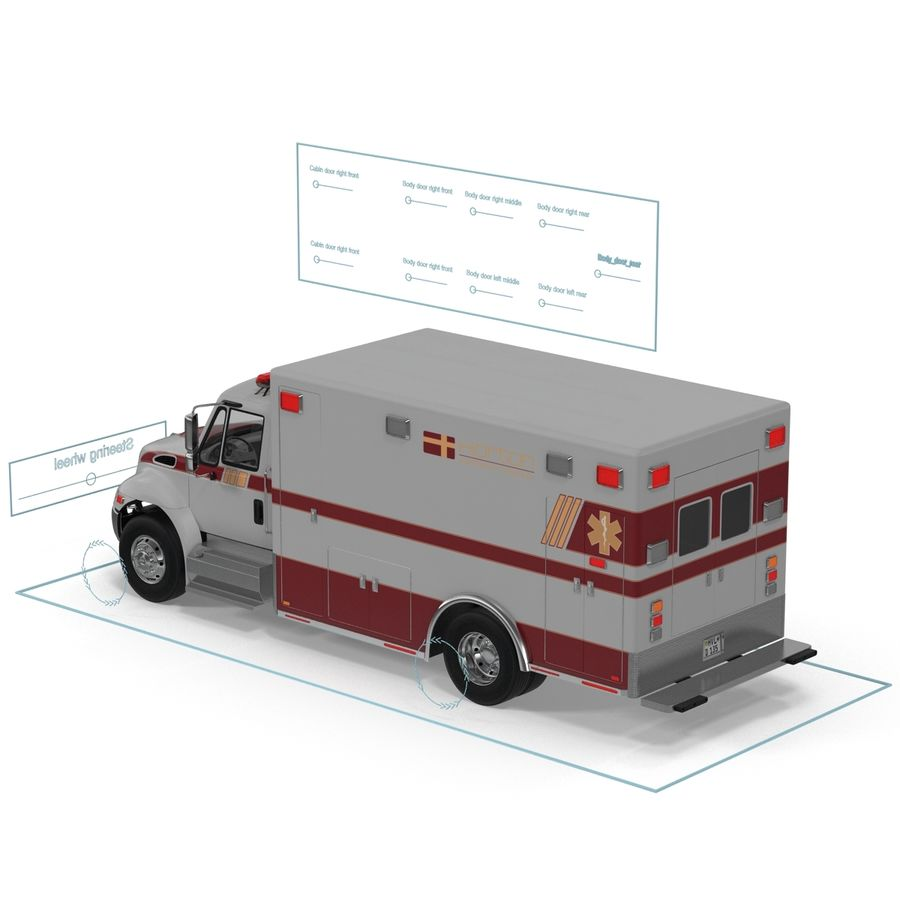 International Durastar Ambulance Rigged 3D Model royalty-free 3d model - Preview no. 51