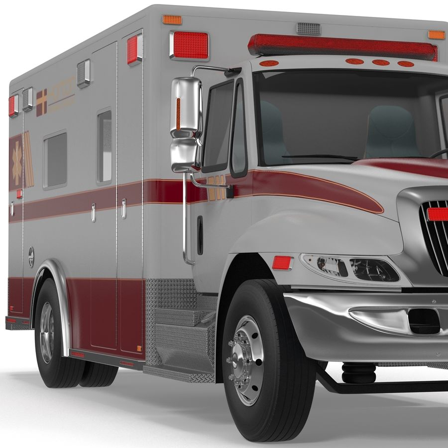 International Durastar Ambulance Rigged 3D Model royalty-free 3d model - Preview no. 27