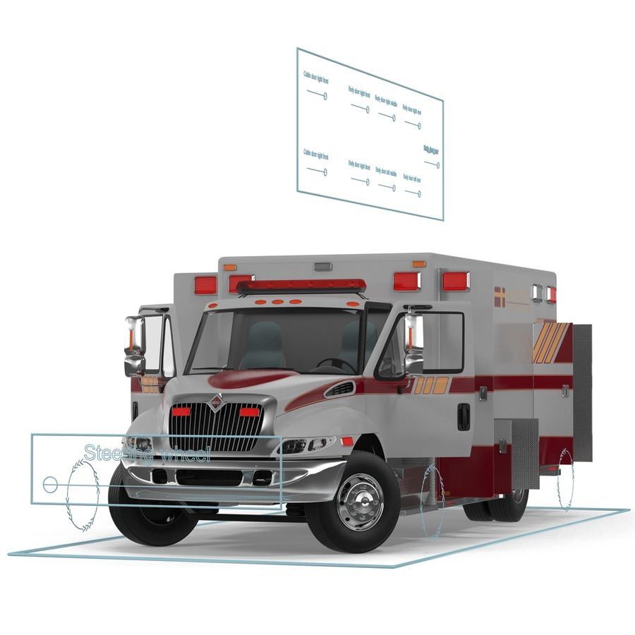 International Durastar Ambulance Rigged 3D Model royalty-free 3d model - Preview no. 50