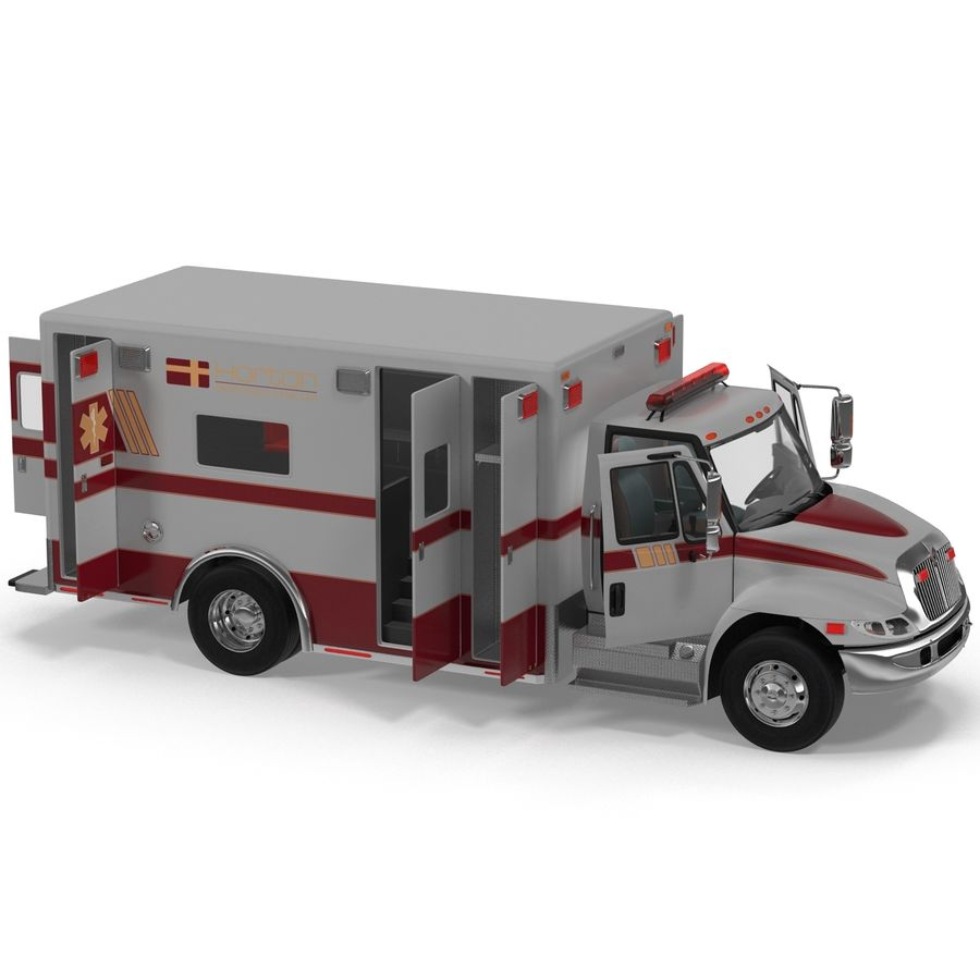 International Durastar Ambulance Rigged 3D Model royalty-free 3d model - Preview no. 20