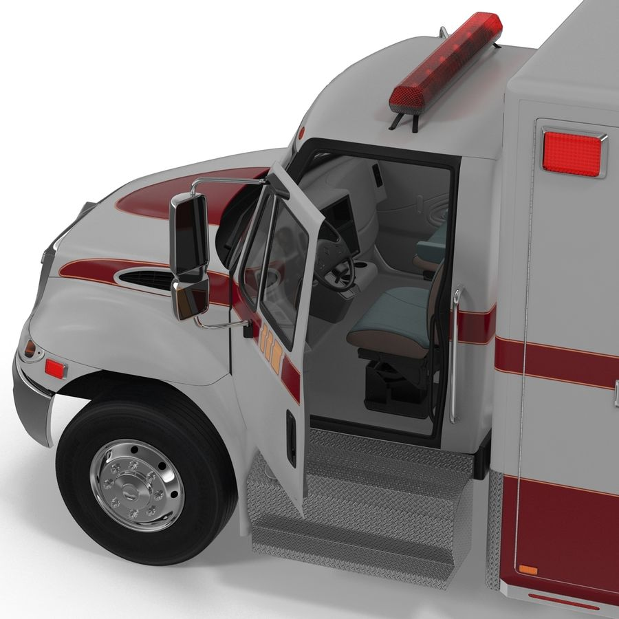 International Durastar Ambulance Rigged 3D Model royalty-free 3d model - Preview no. 33