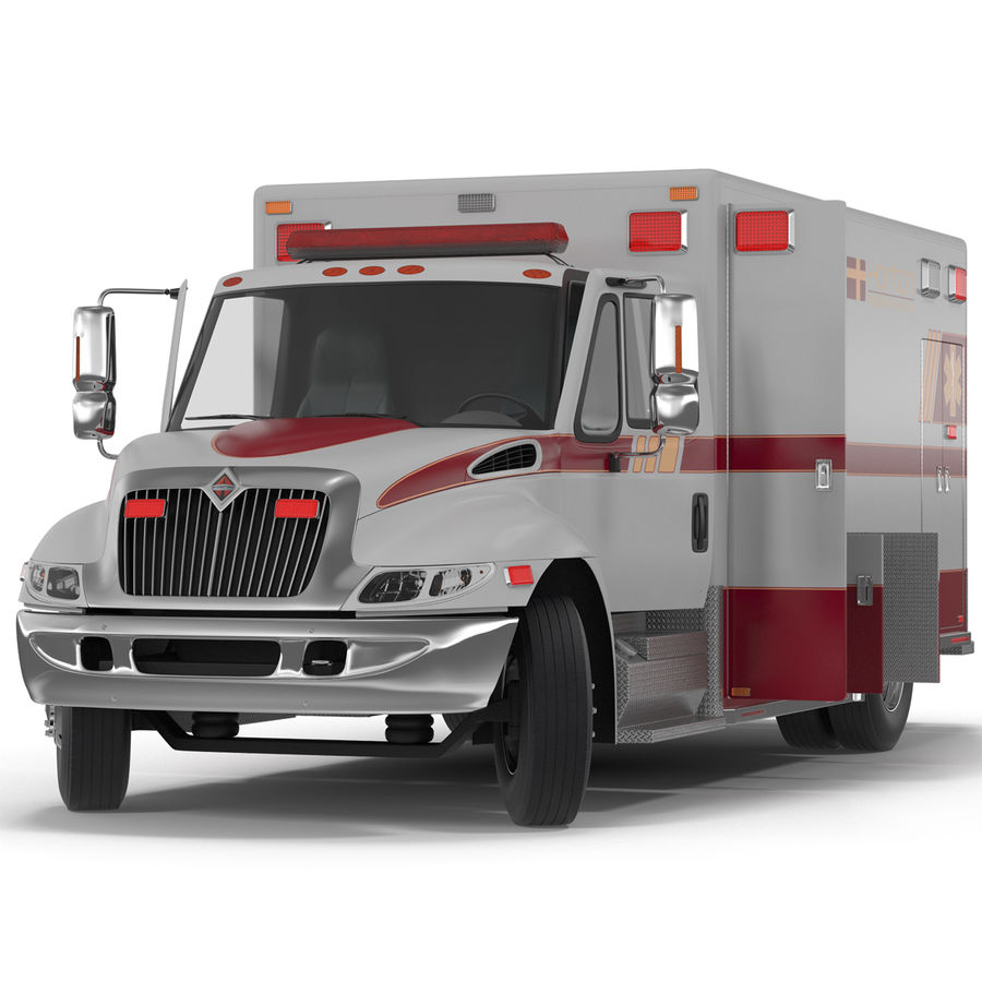 International Durastar Ambulance Rigged 3D Model royalty-free 3d model - Preview no. 2