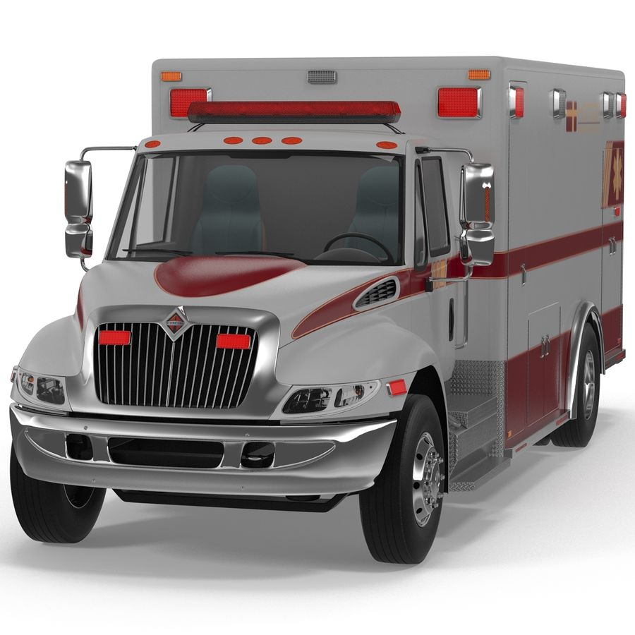 International Durastar Ambulance Rigged 3D Model royalty-free 3d model - Preview no. 10