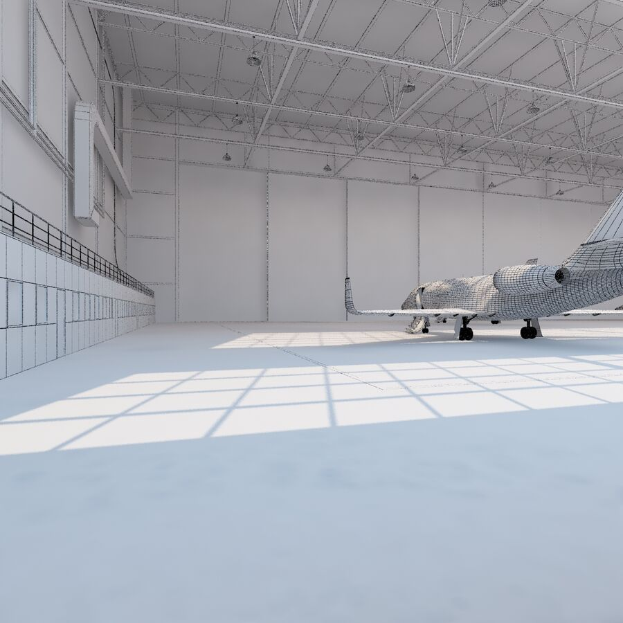 航空機と航空機の格納庫。 royalty-free 3d model - Preview no. 26