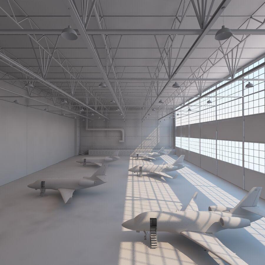 航空機と航空機の格納庫。 royalty-free 3d model - Preview no. 13