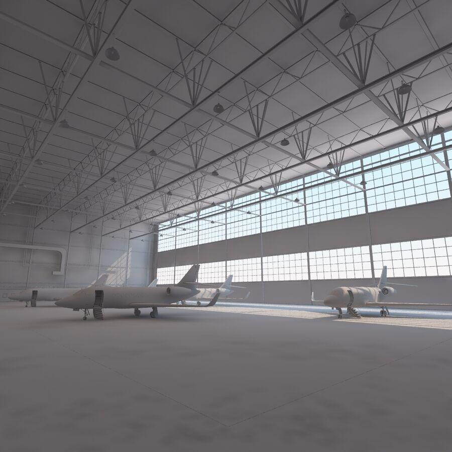 航空機と航空機の格納庫。 royalty-free 3d model - Preview no. 17