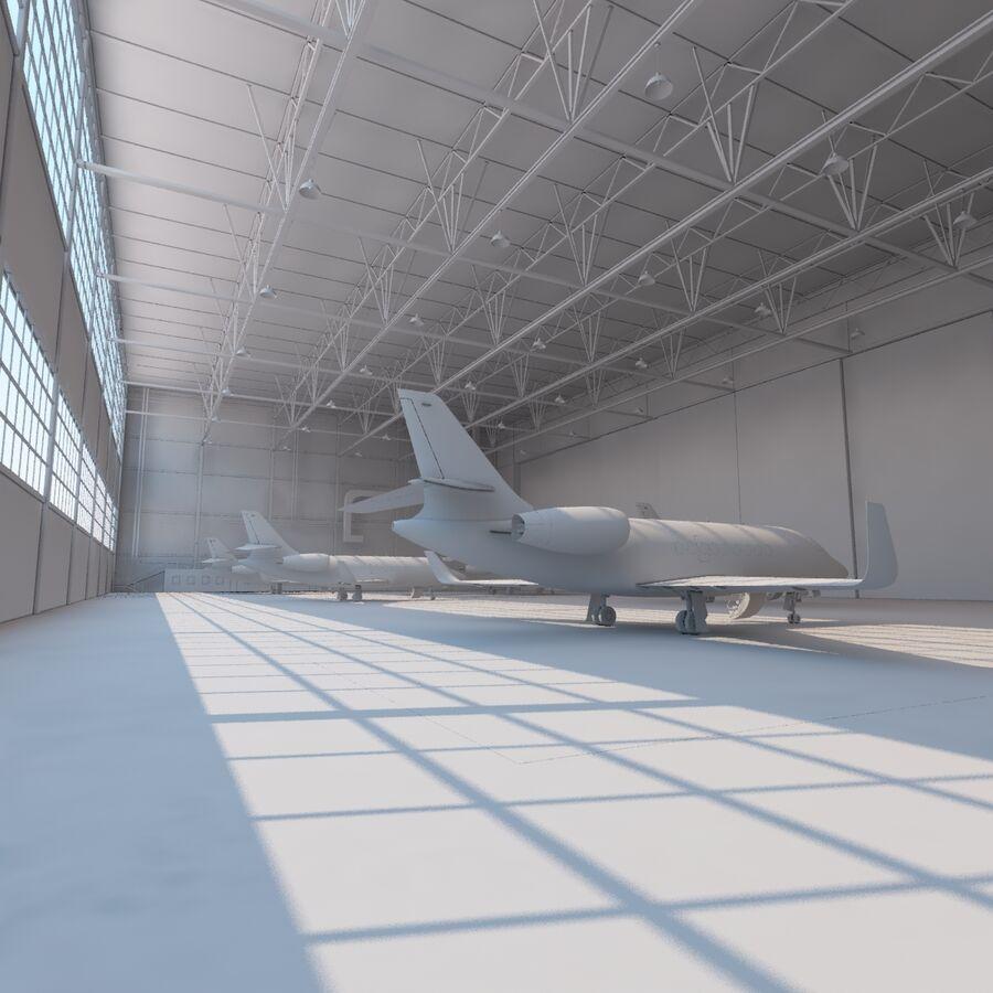 航空機と航空機の格納庫。 royalty-free 3d model - Preview no. 20