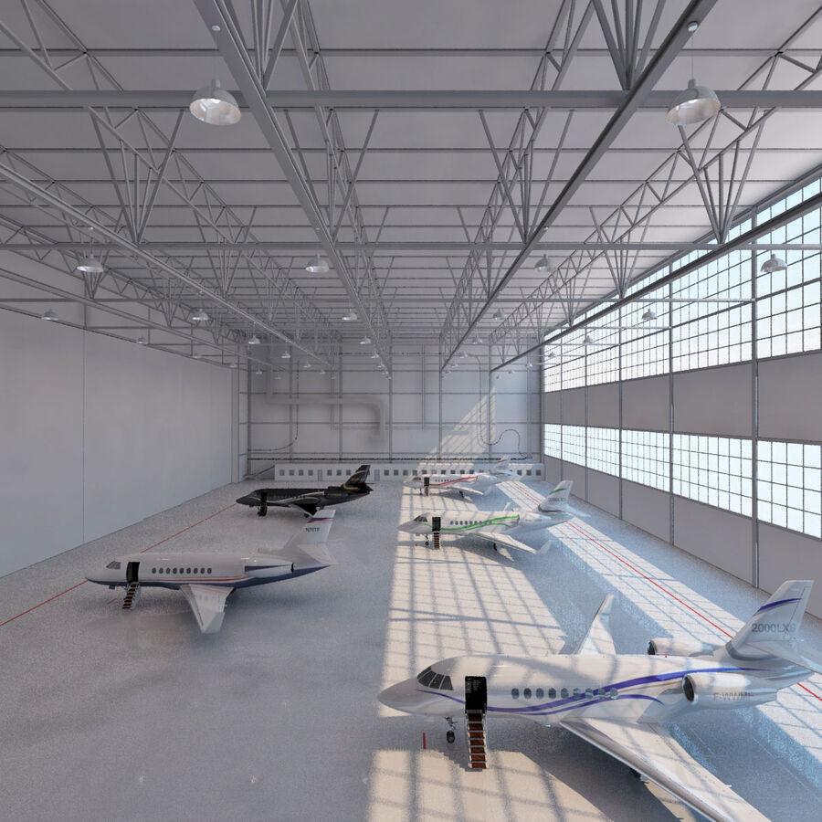 航空機と航空機の格納庫。 royalty-free 3d model - Preview no. 3