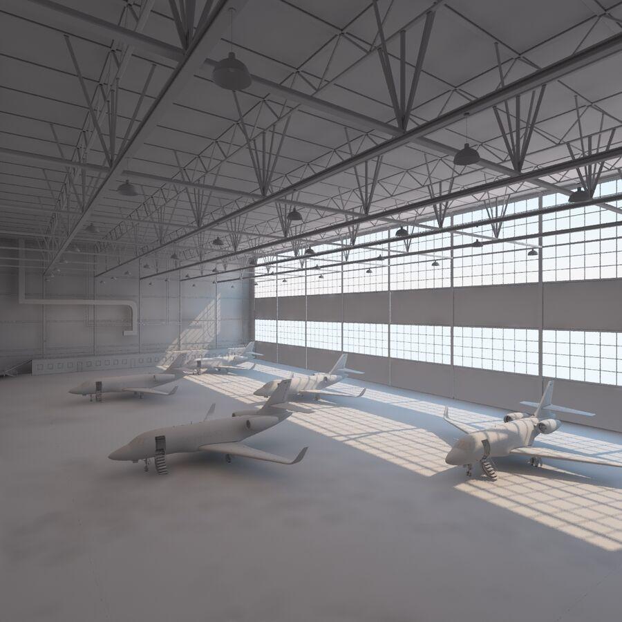 航空機と航空機の格納庫。 royalty-free 3d model - Preview no. 11