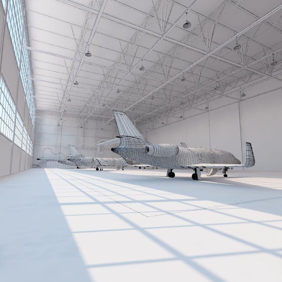 航空機と航空機の格納庫。 royalty-free 3d model - Preview no. 30
