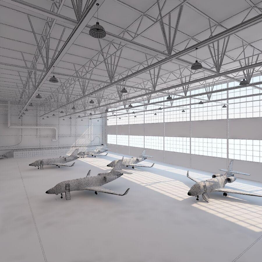 航空機と航空機の格納庫。 royalty-free 3d model - Preview no. 21