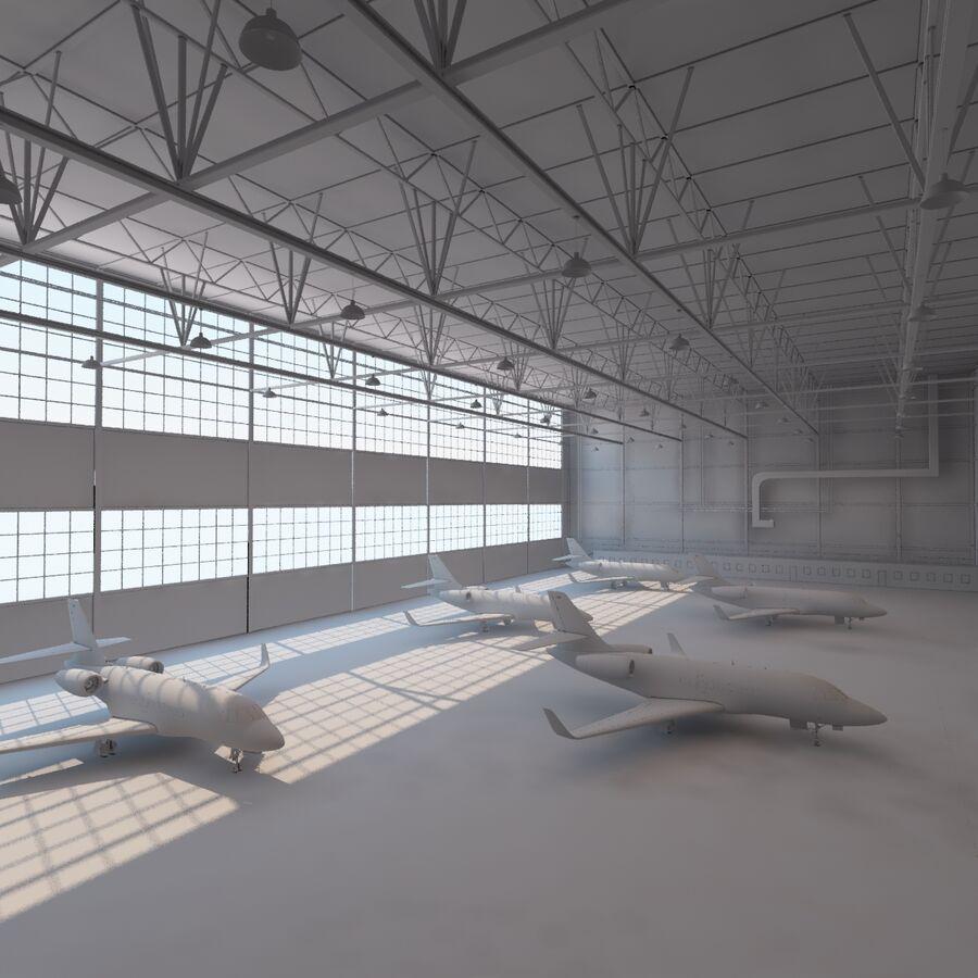 航空機と航空機の格納庫。 royalty-free 3d model - Preview no. 14