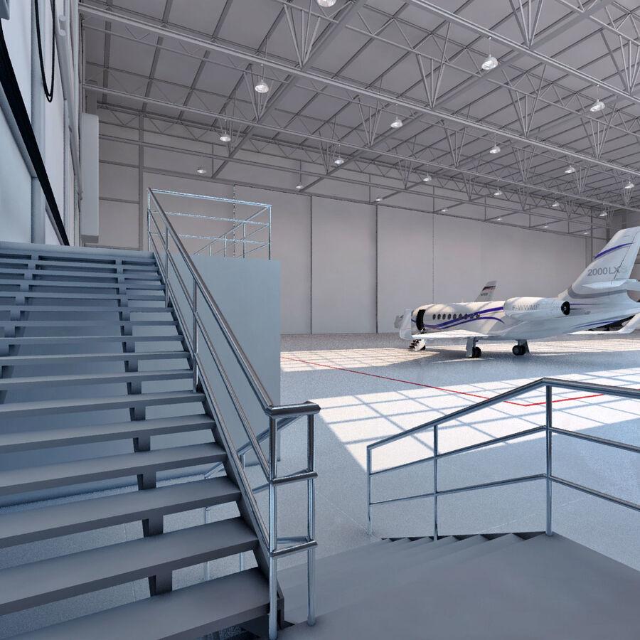 航空機と航空機の格納庫。 royalty-free 3d model - Preview no. 5