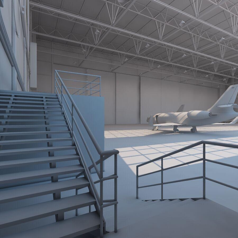 航空機と航空機の格納庫。 royalty-free 3d model - Preview no. 15