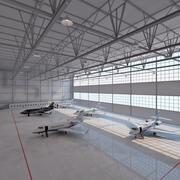 Flugzeughangar mit Flugzeugen. 3d model