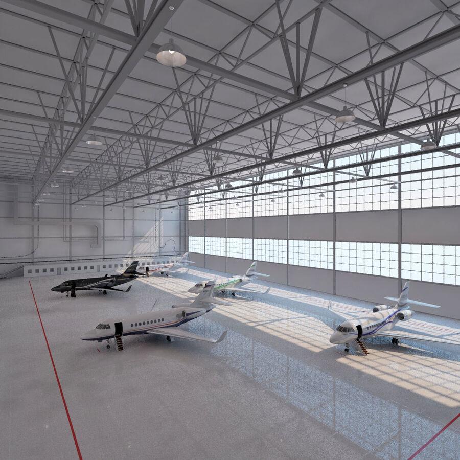 航空機と航空機の格納庫。 royalty-free 3d model - Preview no. 1