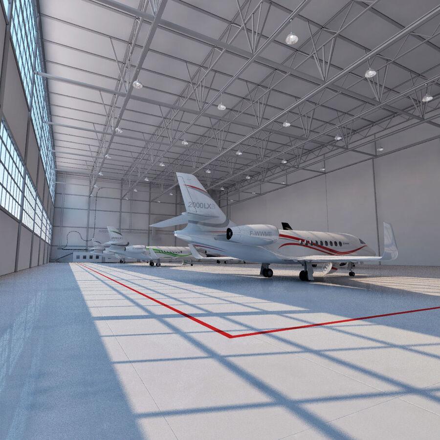 航空機と航空機の格納庫。 royalty-free 3d model - Preview no. 10