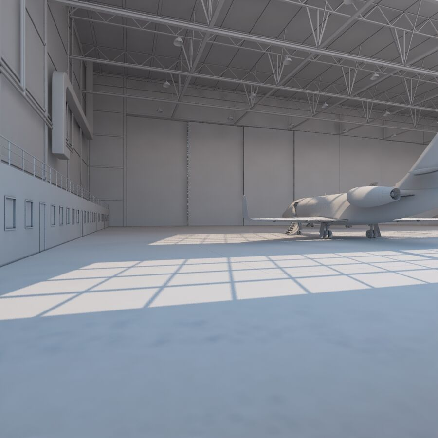 航空機と航空機の格納庫。 royalty-free 3d model - Preview no. 16
