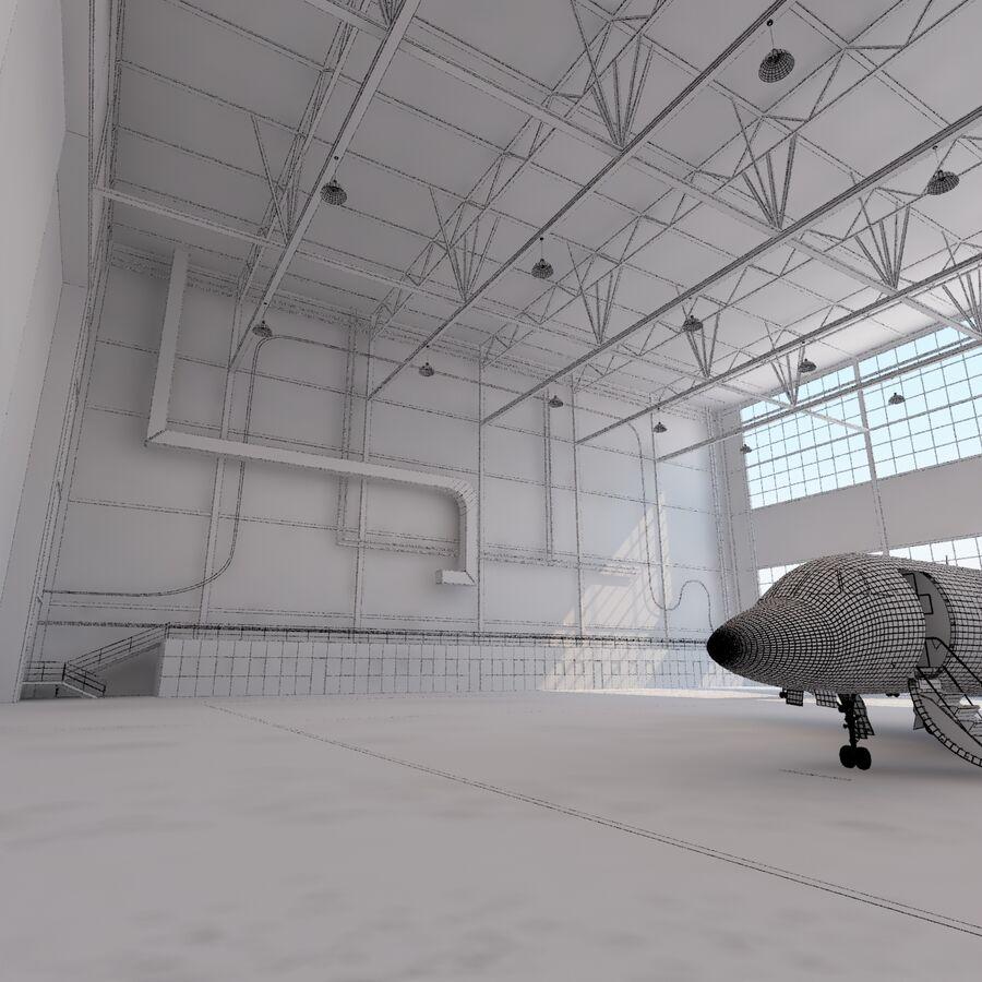 航空機と航空機の格納庫。 royalty-free 3d model - Preview no. 28